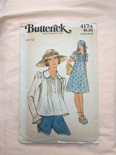 Butterick 4174 Bust 34 Size 12 Vintage Sewing Pattern Seventies 70's Dress Blouse Tunic Pintucks Ruffles Dressmaking Retro Peter Pan Collar by TinySparrowTreasures on Etsy