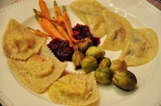 Thanksgiving 2012: Pierogi (Cabbage / Potato & Mushroom), Ravioli (Pumpkin), Braised Carrots, Braised Brussels Sprouts, Cranberry Sauce