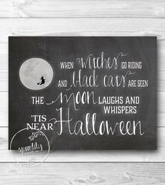 Halloween Decor Art Print CHALKBOARD Wall Art Print   2014 Halloween For  Kids #2014 #
