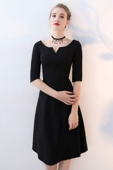 Shop Simple Black Aline Knee Length Party Dress with Sleeves online. SheProm offers formal, party, casual & more style dresses to fit your special occasions. Cocktail Dresses With Sleeves, Knee Length Cocktail Dress, Black Dress With Sleeves, Simple Black Dress, Midi Dress Outfit, Dress Outfits, Fashion Outfits, Women's Dresses, Knee Length Dresses