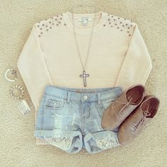 oxfords, sweater, shorts