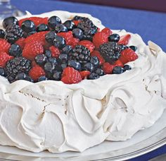 Fresh Berry Pavlova Red, White & Blue Desserts for the 4th!