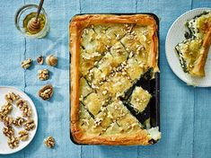 Find out how to make delicious California Walnut, Spinach and Feta Baklava with this vegetarian recipe from Veggie Magazine California Walnuts, California Food, Vegetarian Day, Vegetarian Recipes, Savoury Dishes, Tasty Dishes, My Favorite Food, Favorite Recipes, Leek Recipes