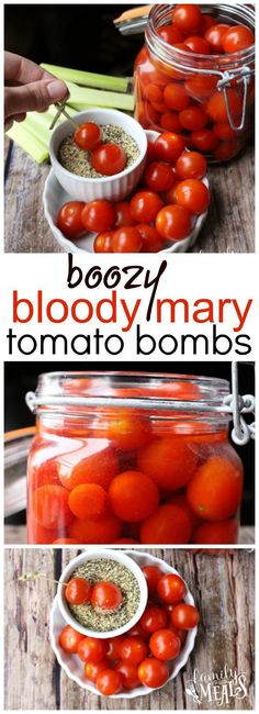 Here is the best thing to do with all those extra cherry tomatoes you have growing in your garden. Boozy Bloody Mary Tomato Bombs! So easy to make!