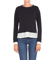 Jucca - Sweater - 300805 - Black - 174,00 € Wool and viscose knit sweater with insert.Round neckline.Long sleeve with cuff and unpacking.Lateral vents on the bottom.Application in contrast fabric on the bottom and cuffs.Straight cut.Fabric composition: 35% wool, 30% viscose, 20% cashmere, 15% polyamide.Insert composition: 100% polyester.Ma...