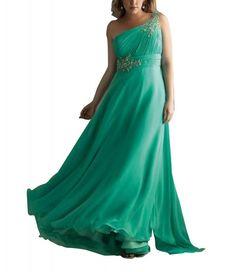 GEORGE BRIDE Mantel / Spalte einer Schulter bodenlangen Abendkleid mit Perlen Applikationen: Amazon.de: Bekleidung