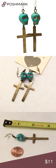 Tiny turquoise skulls earrings NWT super cute earrings! small faux turquoise stone carved as skulls  get the matching bracelet also available  Jewelry Earrings