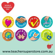 WORLD KINDNESS DAY Celebrate World Kindness Day with our Character Values Merit Stickers for rewarding and encouraging children to present positive character values including being respectful, responsible, honest, fair and trustworthy. Purchase a pack through our online store.
