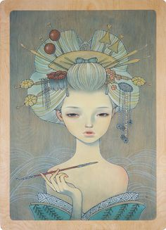Oiran by Audrey Kawasaki.  My brother just introduced me to Audrey's artwork and I must say, it is stunning.