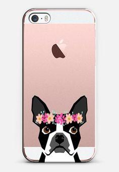 Boston Terrier flower crown headband funny cell phone case with boston terrier iPhone SE case by Pet Friendly | Casetify