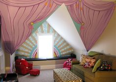 Purple Curtained Stage in Super Themed Playroom Mural: Part One by Cheeky Monkey Home