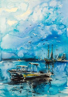 Harbour by Kovács Anna Brigitta - Original watercolour painting on high quality watercolour paper.