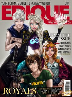 Elsa, Anna, Jack Frost and Hiccup; CAN THIS PLEASE BE REAL!!!!
