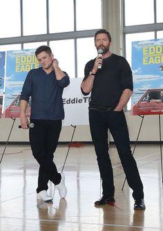 Taron Egerton and Hugh Jackman make appearance at Slam Miami Charter School in Miami on February 18, 2016