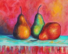 Festive Pears Canvas Print / Canvas Art by Eve Wheeler- Erin Stuart- Acrylic Painting For Beginners, Acrylic Painting Techniques, Acrylic Canvas, Canvas Art, Art Alevel, Fruits Drawing, Art Assignments, Oil Pastel Paintings, Muse Art