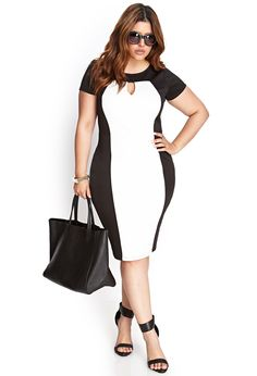 Colorblocked Scuba Knit Dress | FOREVER21 PLUS - 2000123476 US$24.80