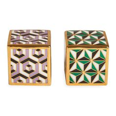 Shake up your tablescape with these Versailles salt & pepper shakers from Jonathan Adler. Crafted from high fired porcelain, these salt and pepper shakers have been adorned with a trippy geometric pat