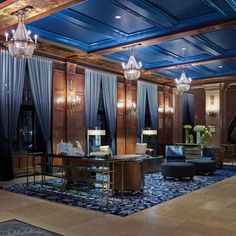 Originally built in 1893 by the Canadian Pacific Railway to promote luxury tourism, the Fairmont Le Château Frontenac overlooks the St. Resort Interior, Lounge Design, Chateau Frontenac Quebec, Interior Photo, Interior Design, Chute Montmorency, Rockwell Group, Blue Ceilings, Hotel Interiors