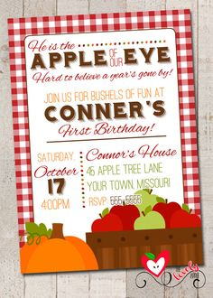 Apple First Birthday Invitation Printable Invite Fall