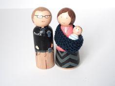 CUSTOM Babywearing Family of Three by PegandPin on Etsy