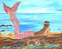 Mermaid Art Print Giclee Mermaids Painting by LeslieAllenFineArt