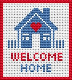 Simple cross stitch pattern of a house with a picket fence.