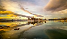 MONO LAKE, Reflection II - In the heart of Lee Vining is Mono Lake, an ancient, salty sea filled with history, beauty and mystery. Mono Lake is 30 miles north of Mammoth. The salt waters of this ancient inland sea sustain a unique biosphere where tiny brine shrimp feed millions of migrating birds each year. Strange tufa formations, unusual shorelines and two volcanic islands are as interesting to visitors as the 50,000 California gulls and dozen or so bird species. Guided walks, kayak…