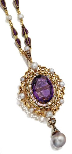 A Renaissance-Revival pendant, the chain by Carlo Giuliano, circa 1880. The gold chain of double dart-shaped links applied with translucent purple enamel and black piqué enamel alternating with pearls, signed C.G, supporting a pendant centring an oval amethyst within an openwork frame decorated with a band of opaque enamel and accented with rose-cut diamonds and a border of pearls, supporting a grey baroque pearl and diamond drop. #Giuliano #RenaissanceRevival #pendant