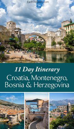 Balkan Peninsula Itinerary: Croatia, Montenegro, and Bosnia & Herzegovina. Visit Dubrovnik, Kotor, Mostar, Split, Trogir, Sarajevo, and more.