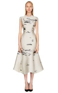 Ivory Fitted Flounce Dress by Vika Gazinskaya - Moda Operandi