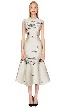 Ivory Fitted Flounce Dress by Vika Gazinskaya - Moda Operandi