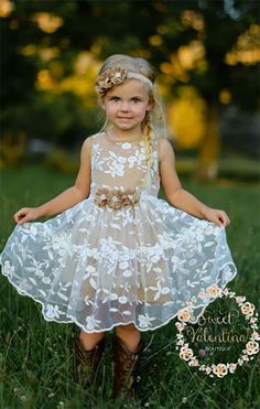 Country lace flower girl dress. The cotton lining and flowers can be burlap color (toffee) like in the picture, off white, lavender, yellow, or light pink. Scroll to number 7 on the page.