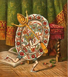 And the Dish Ran Away With The Spoon--Decorative Dish---Vintage Nursery Rhyme Illustration