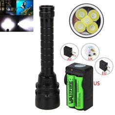 Underwarter 100m 15000Lm XM-L T6 LED Scuba Diving Flashlight Torch lamp +2*18650 Battery+ Charger