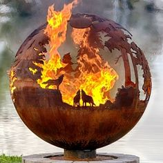 "Up North 37"" Design Your Own Fire Pit Sphere With Craggy Tree Branch Base. by Melissa Crisp"