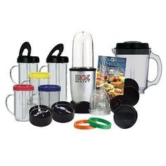 Magic Bullet Deluxe 25 pc Set Blender Mixer by AS SEEN ON TV. $50.05. THE MAGIC BULLET. CHOPS,WHIPS, BLENDS AND MUCH MUCH MORE. The Magic Bullet Hi-Speed Blender/Mixer System- 22 Piece Set.This versatile machine will do virtually any job in the kitchen in 10 seconds or less, yet it takes up no more space on your counter than a coffee mug. It's so easy you'll use it every single day of the week!! The Magic Bullet replaces a food processor, blender, electric juicer and...