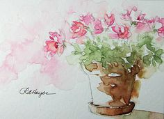 Watercolor Paintings by RoseAnn Hayes: Pink Flowers in Terra Cotta