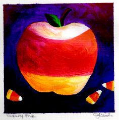 """DAY 25-(1/25/13) """"Candy Corn Apple""""  Happy Friday! On this gloomy rainy day if you decide to stay in, curl on the couch under a warm cover watch a good movie and don't forget to purchase a great big box of your favorite CANDY. :)  #SpondyApple #Repin #CandyCorn"""