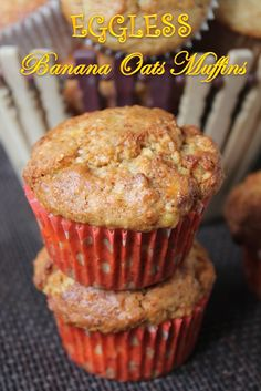 I had few really over ripe bananas on hand, whenever i get those bananas on hand, i pop them in freezer. So i can use them in cupcakes, muffins and cakes. Banana Recipes Eggless, Eggless Banana Muffins, Ripe Banana Recipe, Eggless Desserts, Eggless Baking, Banana Oats, Oatmeal Muffins, Doughnut Muffins, Apple Oatmeal