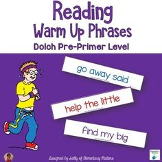 Dolch Warm Up Phrases Pre-primer level-FREE-Balanced Literacy, Vocabulary, Reading Strategies Kindergarten, 1st, 2nd, Homeschool Activities, Printables, Literacy Center Ideas--I always start readers with a warm up exercise that's below their instructional reading level. Experts say children should read words in phrases rather than in isolation. Reading these phrases for a few minutes will have the children warmed up and ready for more instruction. The phrases can be read from copied…