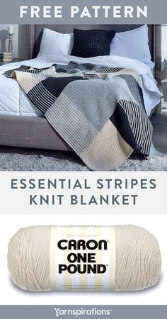 Free Essential Stripes Knit Blanket pattern using Caron One Pound yarn. This inviting blanket features 5 panels that come together to create one seamless look. Caron One Pound lets you finish a washable and dryable blanket, that's so low maintenance. #yarnspirations #freeknitpattern #knitblanket #knitthrow #knitafghan #caronyarn #carononepound Knitting Patterns Free, Free Knitting, Free Pattern, Knitting Ideas, Knit Patterns, Knitted Afghans, Knitted Blankets, Caron One Pound Yarn, Caron Yarn