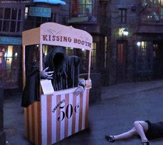 Oh my gosh. SO funny. If I am ever in a kissing booth for any reason I will dress up as a dementor.