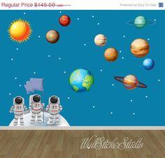 Sistema solar pared calcomanía astronauta Sistema Solar tela