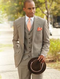 Wool Houndstooth Three-Piece Two-Button Notch Lapel Suit from Paul Fredrick (love the vest - far too few suits still come with one any more these days). #mensweara #style #fashion #suits #wedding