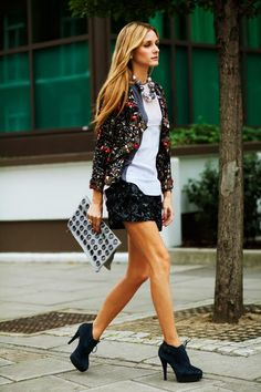 Celebrity Style Inspiration: Olivia Palermo Black Skirt, White Top, Statement Neck Piece, Fashion Blazer, Smart Casual Outfit Idea
