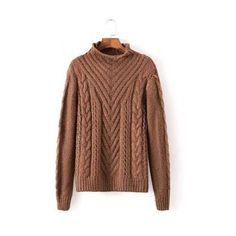 Cable Knit High Neck Sweater in Brown (895 UAH) ❤ liked on Polyvore featuring tops, sweaters, layered sweater, layered tops, long sleeve sweaters, cableknit sweater and brown cable knit sweater