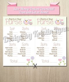 Points in Your Purse Baby Shower Game Girl by DesignbyKristinLynn, $6.00