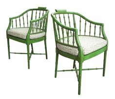 Pair Hollywood Regency Faux Bamboo Armchairs by Baker Furniture Chairs Green #HollywoodRegency #BakerFurniture