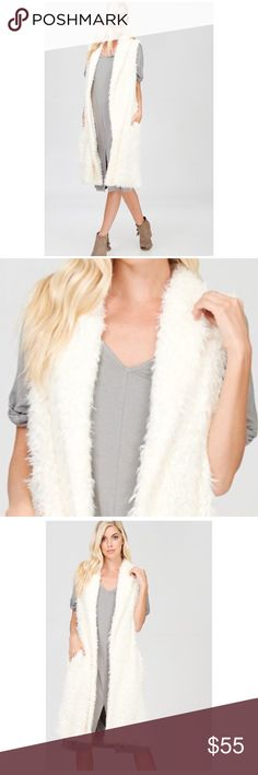 New! Warm Ivory long fur vest IVORY LONG FAUX FUR VEST 100% POLYESTER LINING - 100% RAYON Angelique's Atelier Jackets & Coats Vests