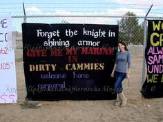 "Military homecoming banner tutorial...but would put ""My Sailor"" than Marine..."